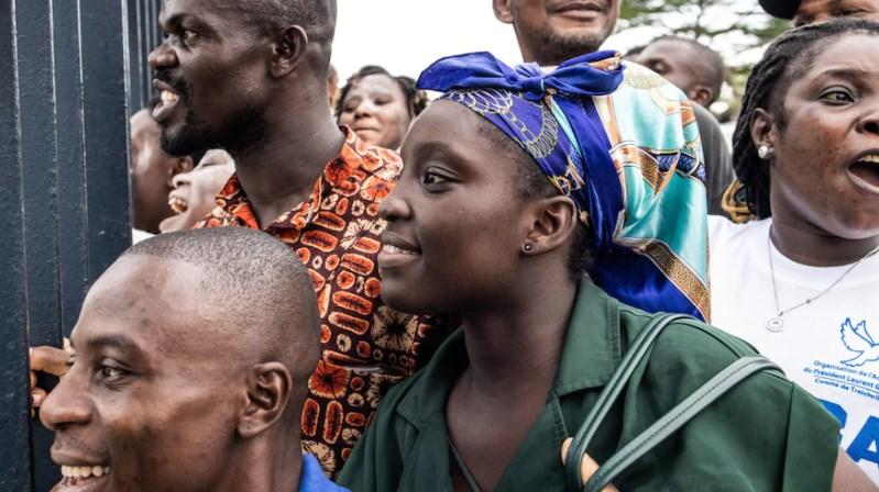 Des partisans de Laurent Gbagbo en joie.
